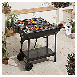 Double-sided Oil Drum Charcoal BBQ, Black