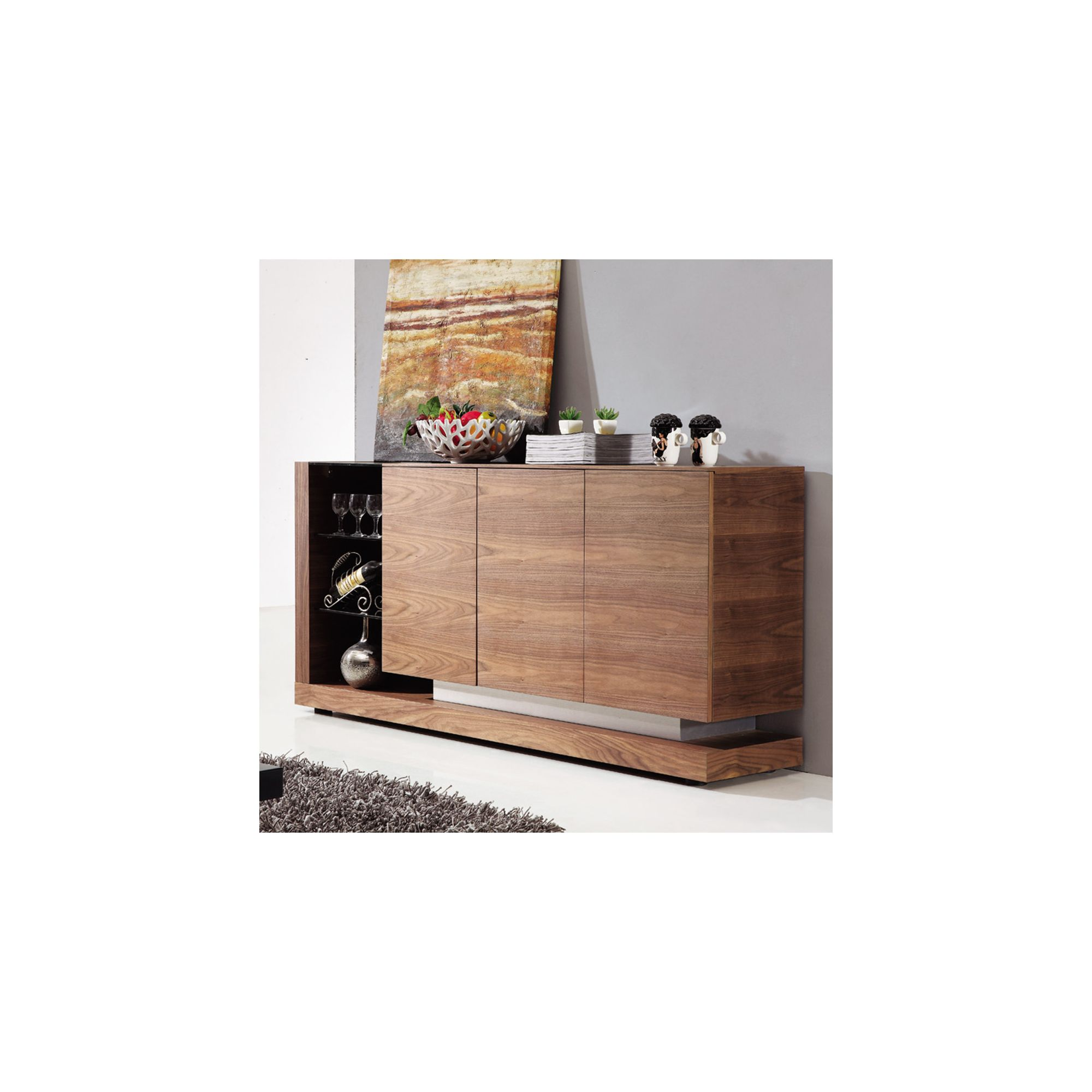 Giomani Designs Walnut Glass Sideboard at Tesco Direct