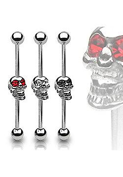 Urban Male Surgical Steel Scaffold Barbell Clear CZ Gem Skull