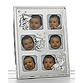 Baby 6 Pic Metal Photo Frame - Silver