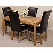 Bevel Solid Oak 150 cm with 4 Washington Leather Chairs (Brown)