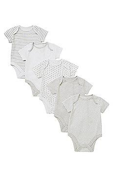 F&F 5 Pack of Stripe and Spot Bodysuits - Grey