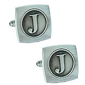 Antiqued Silver Plated Initial - J Cufflink - Single