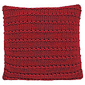 Knotted Knit Cushion Red