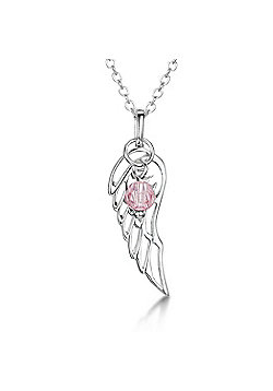 Jo For Girls Silver Angel Wing October Birthstone Pendant