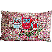 Three Owls On A Branch - Large Rectangular Cushion