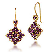 Gemondo Gold Plated Sterling Silver 3.34ct Rhodolite Cluster Drop Earrings