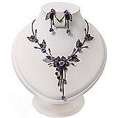 Delicate Y-Shape Purple Rose Necklace & Drop Earring Set In Black Metal