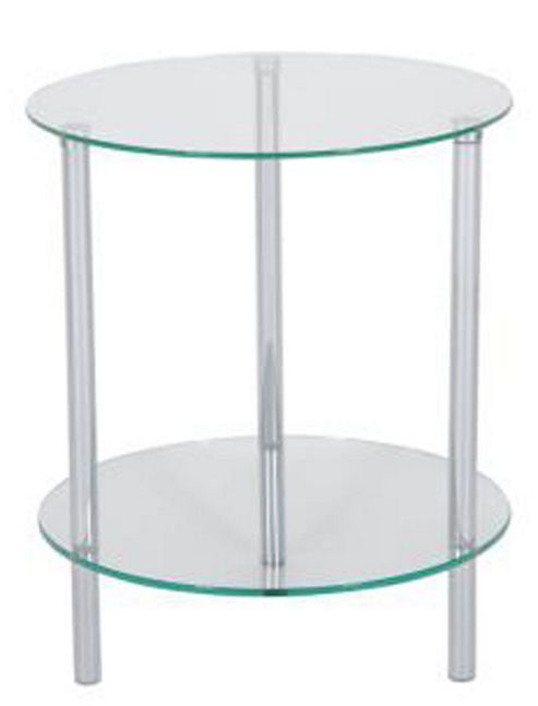 LEVV Sierra 2 Tier Clear Glass Lamp Table