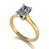 18ct Gold 7x5 Single Stone Radiant Moissanite Ring
