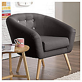 Jemima Tub Chair Charcoal/Grey Button