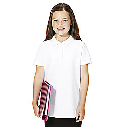 F&F School 2 Pack of Girls Pique Polo Shirts with As New Technology years 07 - 08 White