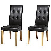 Genoa Pair of Chocolate Leather Effect Dining Chairs with Oak Legs
