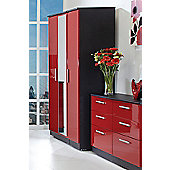 Welcome Furniture Knightsbridge Tall Wardrobe with Mirror - Ruby - Black