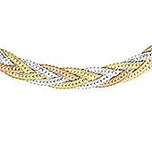 9ct 3 Colour Gold 3 Plait Herringbone Necklace 41cm/16""