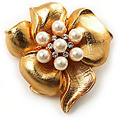 Stunning Crystal Simulated Pearl Flower Brooch (Matte Gold Finish)