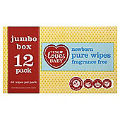 Tesco Loves Babypure F/F Wipes Jumbo Box 12X64