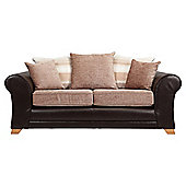 Lima fabric mix medium sofa chocolate and mink