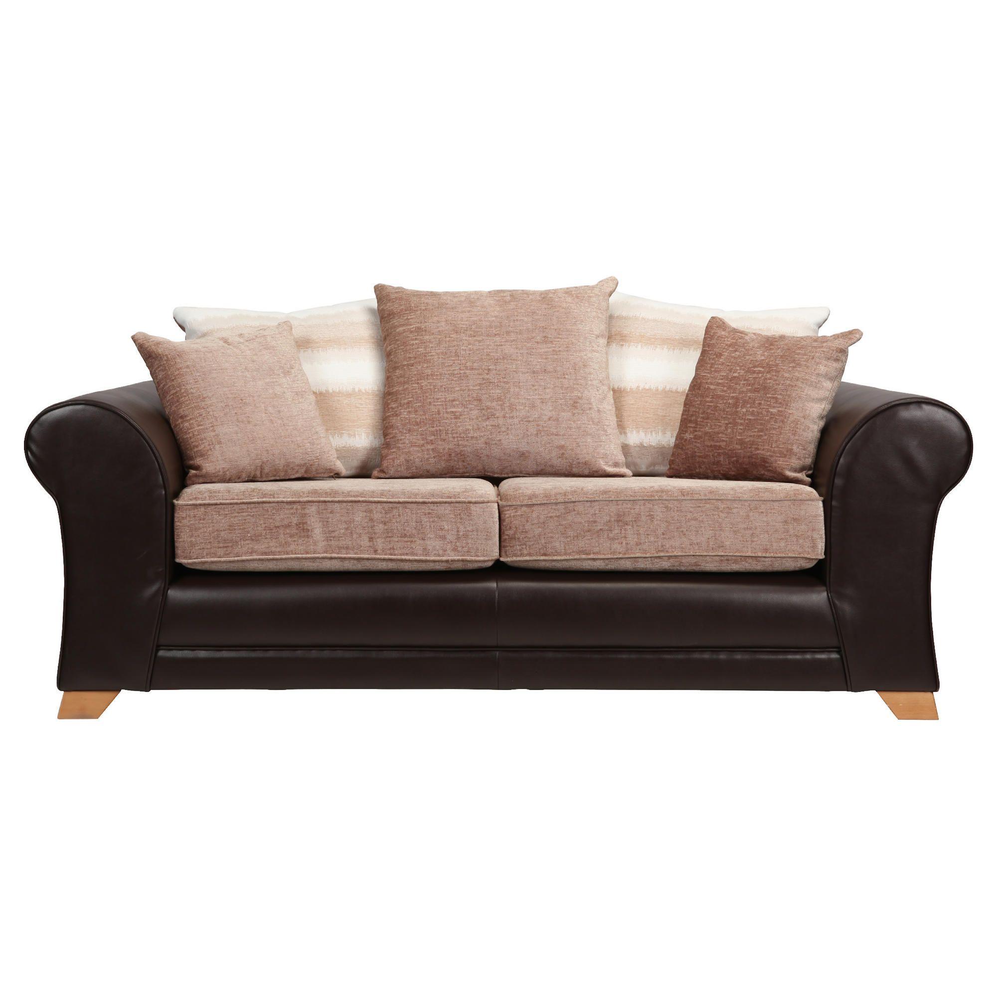 Lima fabric mix medium sofa chocolate and mink at Tesco Direct