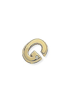 Jewelco London 9ct Yellow Gold - Diamond - G' Initial Charm Pendant -