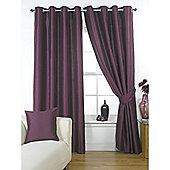 KLiving Ravello Faux Silk Eyelet Lined Curtain 90x54 Inches Aubergine