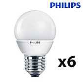 Pack of 6 Philips 5W ES E27 Energy Saving CFL Golfball Bulbs in Warm White