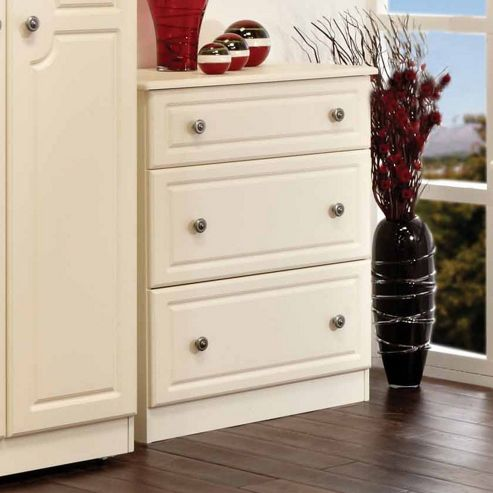 Welcome Furniture Pembroke 3 Drawer Deep Chest - Cream