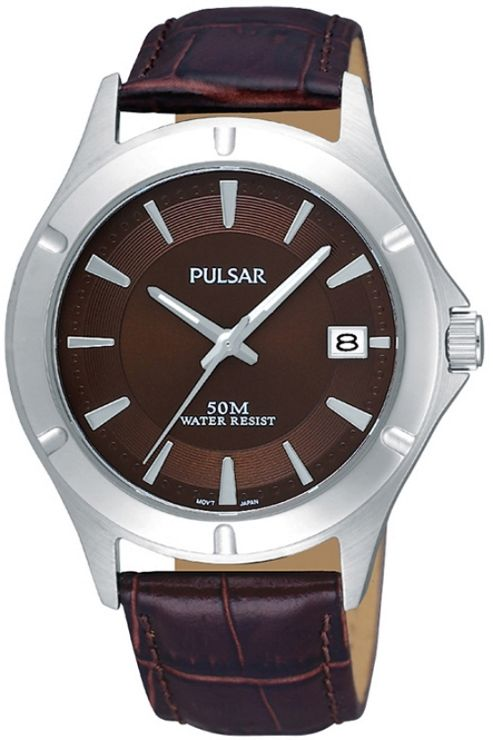 Pulsar Gents Leather Strap Watch PXH987X1