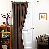 Chenille Spot Single Panel Thermal Coated Door Curtain - Chocolate