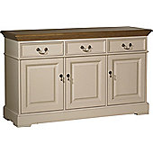 YP Furniture Country House Three Door Sideboard - Oak Top and Ivory