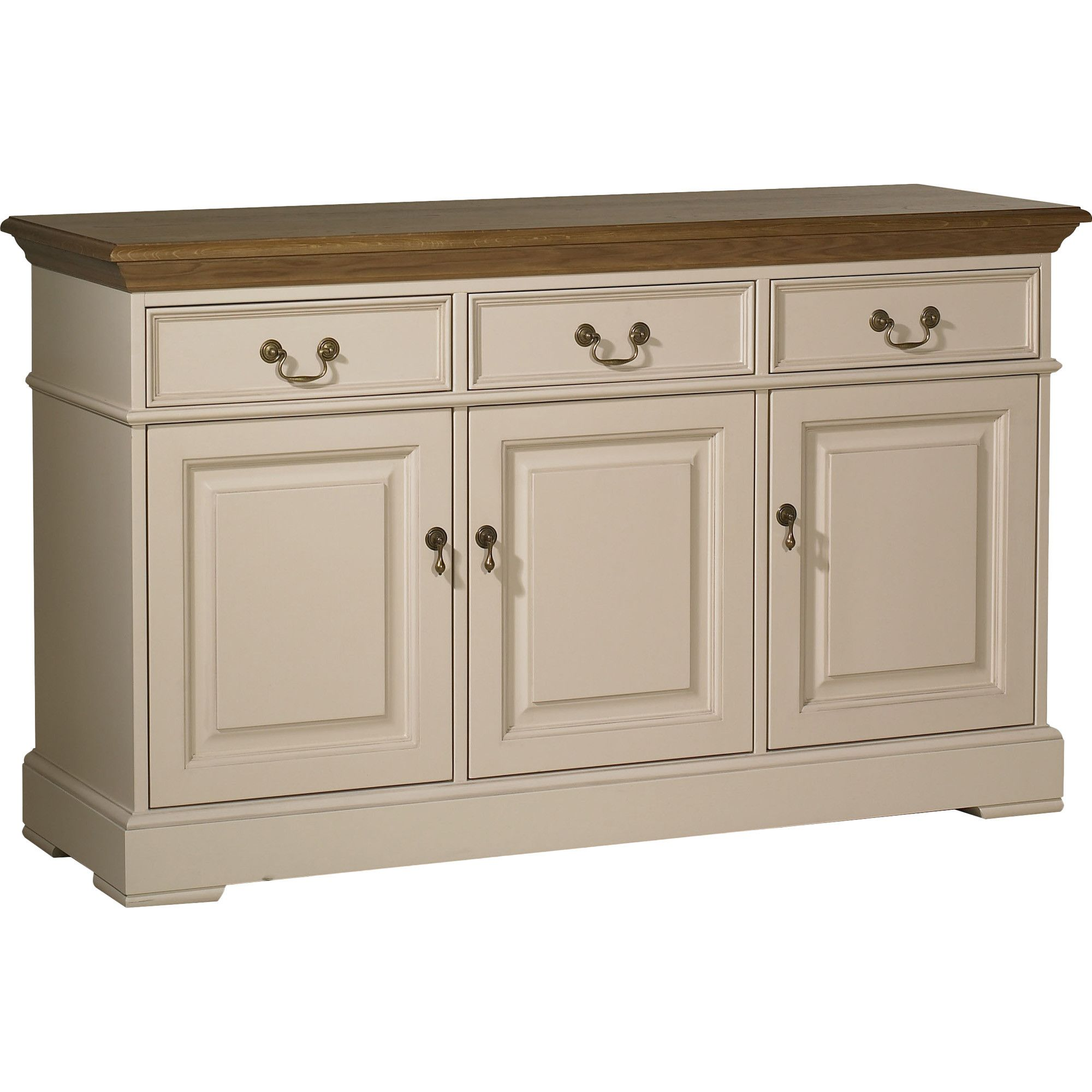 YP Furniture Country House Three Door Sideboard - Oak Top and Ivory at Tesco Direct