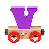 Bigjigs Rail Rail Name Letter V (Purple)