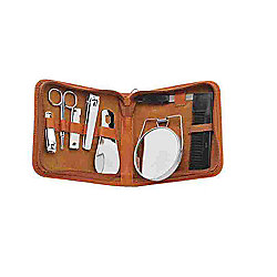 Danielle Creations Mens Leather Manicure Set Tan