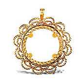 Jewelco London 9ct Solid Gold casted full-size Fancy Sovereign coin pendant mount