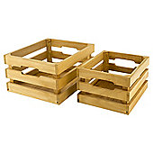 Tesco 2 set wooden slated crates