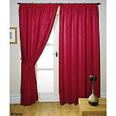 Hamilton McBride Milano Pencil Pleat Lined Red Curtains & Tie backs - 46x90 Inches (117x229cm)