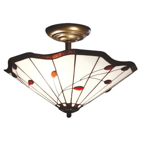 Loxton Lighting Ruby Leaf Tiffany Semi Flush Uplighter in Amber