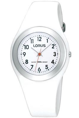 Lorus Childrens White Rubber Strap Watch R2399FX9