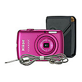 "Nikon Coolpix S01 Digital Camera, Pink, 10.1 MP, 3x Optical Zoom, 2.5"" LCD Screen, Case"