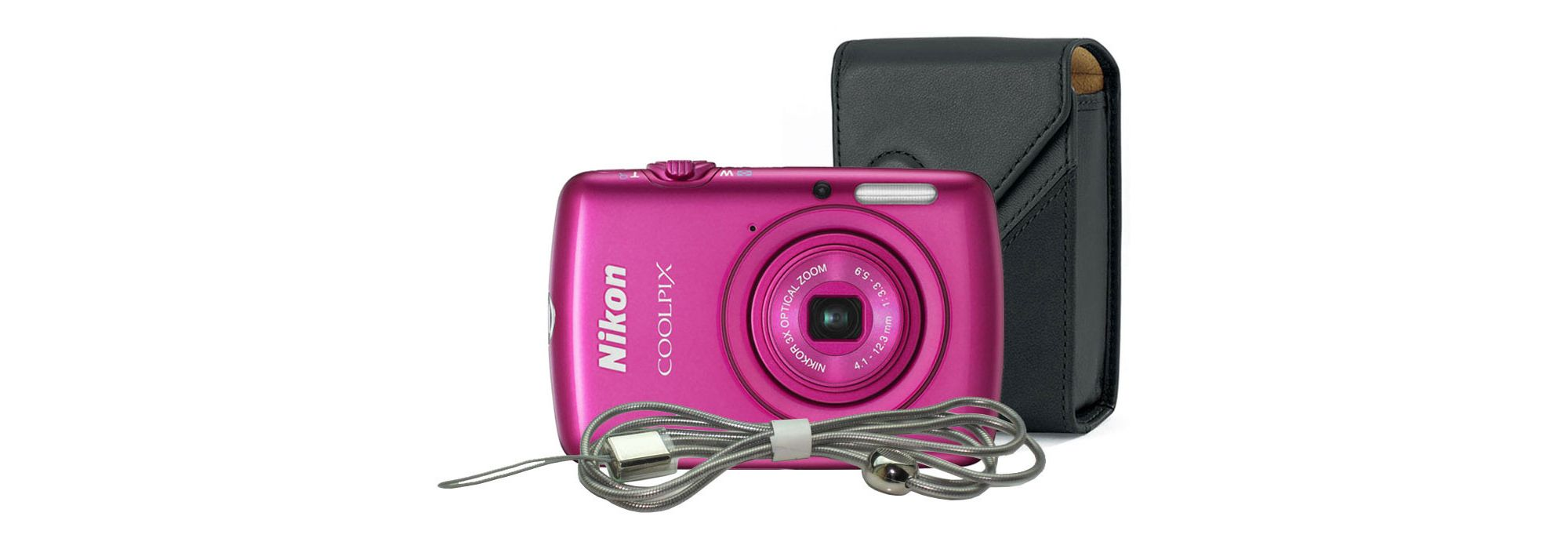 DS Nikon Coolpix S01 Pink Camera Kit inc Lowepro Leather Case & Steel Lanyard