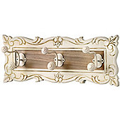 Country - Wall Mounted 3 Hook Coat Rack Hanger - Cream