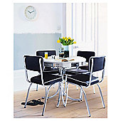 Rydell 4 Seat Round Dining Set with Chairs, Black