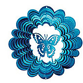 Iron Stop Small Blue Butterfly Classic Wind Spinner 6in