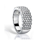 The REAL Effect Rhodium Coated Sterling Silver Cubic Zirconia Eternity Ring Size