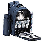 VonShef 4 Person Blue Tartan Picnic Backpack
