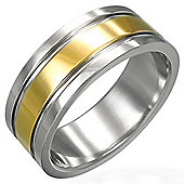 Urban Male Men's Stainless Steel Two Colour 8mm Ring