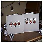 Robin and Reindeer Thumbprint Christmas Cards, 10 pack