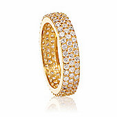 Gold plated stacking ring with cubic zirconia stones