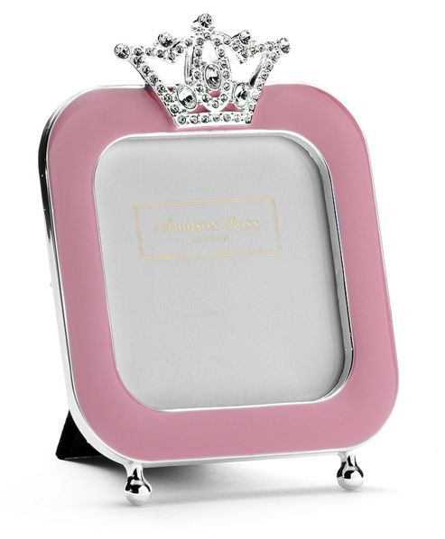 Addison Ross Baby Enamel Photo Frame Pink Enamel and Crown Frame