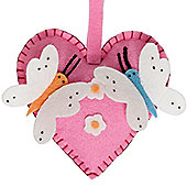 Felt Craft Kits - Make Your Own Hanging Heart with Butterflies